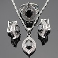 Super Black Created Sapphire White CZ Jewelry Sets For Women Silver Color Earrings Ring Pendant Necklace Gift Free Box