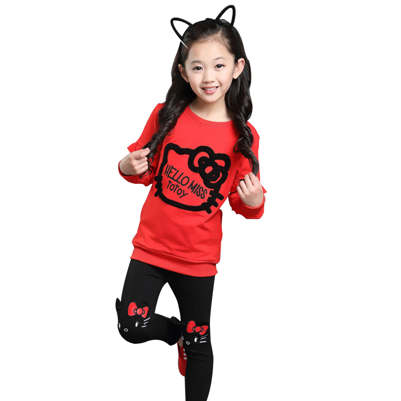 Girls Cartoon Tracksuit Kids Clothing Suit Baby Girl Tshirt+Pants 2 Pcs 4 6 8 10 12 Year Children Lovely Embroidery Clothes Sets