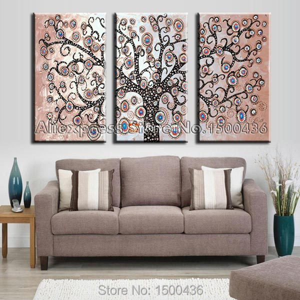 Hand Painted 3 Piece Tree Wall Art Abstract Oil Picture For Living Room Modern Paintings On Canvas Decoration Home Set In Painting Calligraphy From