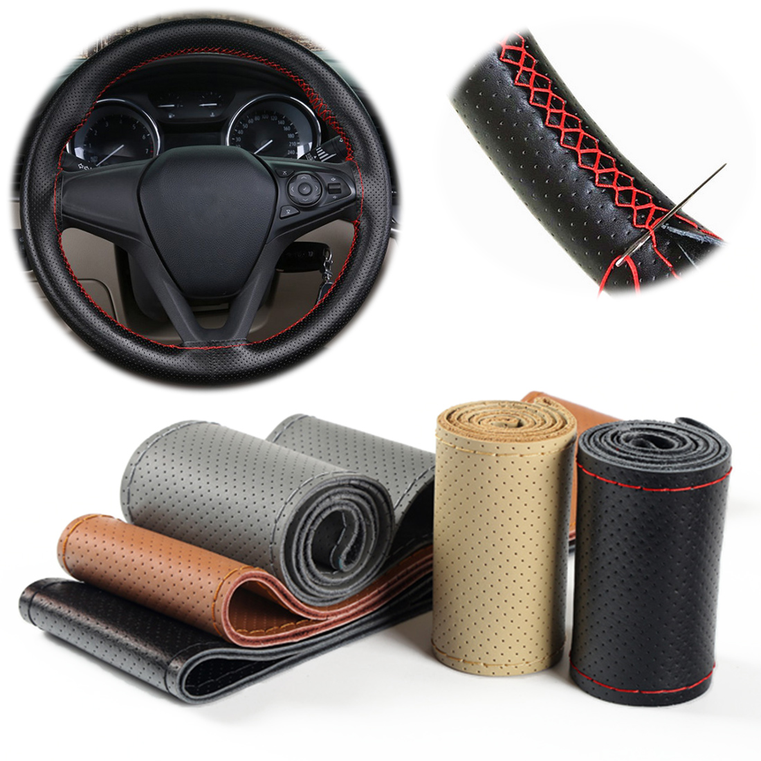 Dewtreetali 38cm Genuine Leather Auto Car Steering Wheel Cover Soft Anti-slip Braid With Needles Thread Interior Accessories