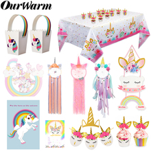 OurWarm Unicorn Birthday Party Supplies Pink Dream Catcher Game Banner Tablecloth Kids Candy Gift Box DIY Decor
