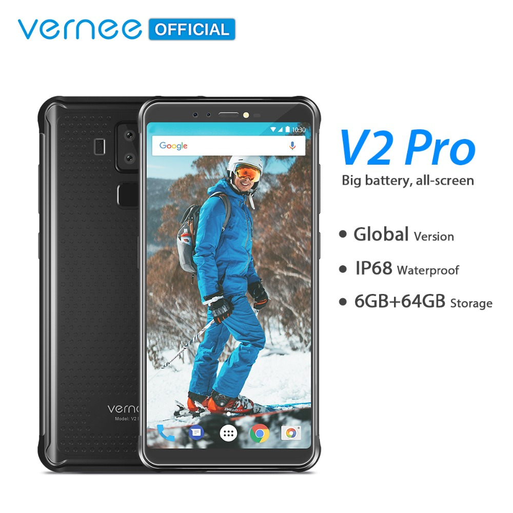 Vernee V2 Pro IP68 Waterproof Smartphone 5.99″ FHD Face ID Global Network 6GB 64GB Four Cam NFC 6200mAh Android 8.1 Mobile Phone