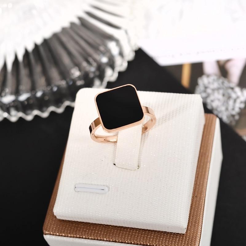 Новое поступление, кольцо YUN RUO для пар, розовое золото, черный квадрат, для женщин, подарок, вечеринка, ювелирные изделия из нержавеющей стал...