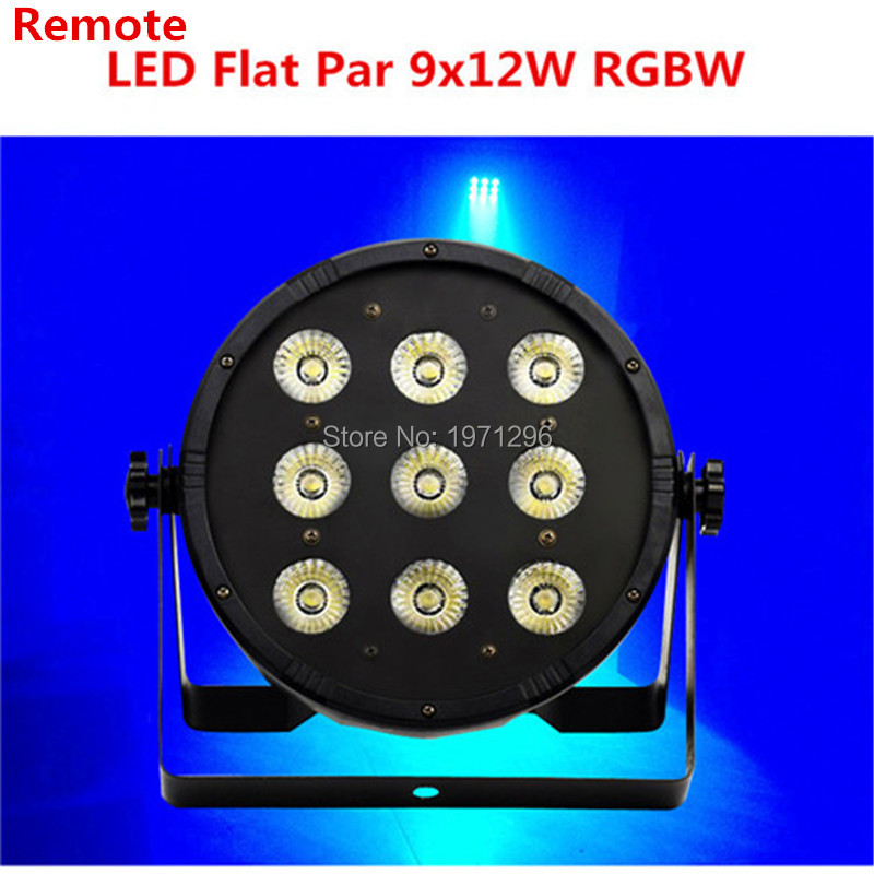 Free&Fast shipping hot Wireless remote control the brightest 7 dmx Channels Led Flat Par 9x12W RGBW 4IN1 factory directly sale  4pcs lot the brightest 4 8 dmx channels led flat par 18x12w rgbw 4in1 led par can light with power in power out