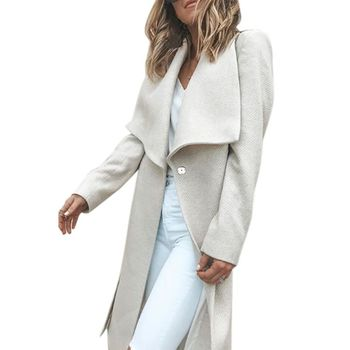 49072ca154e Moda de Collar largo abrigo de lana elegante invierno mujer mezcla lana  abrigos tipo flojo mujer