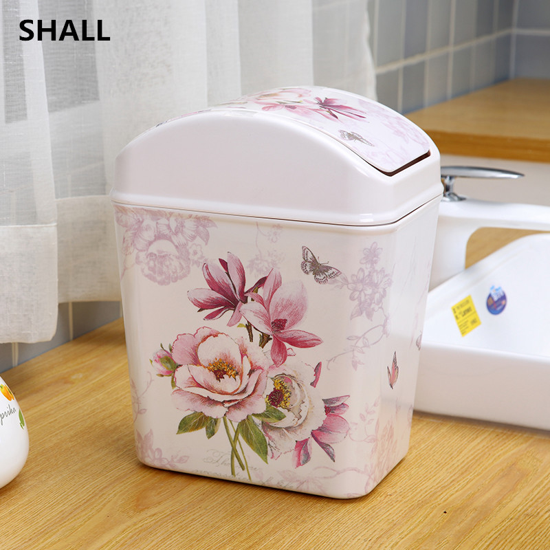 Shall Melamine Square Rolling Cover Trash Bin Garbage Can Sundries Storage Bucket Home Bedroom Parlor Decor