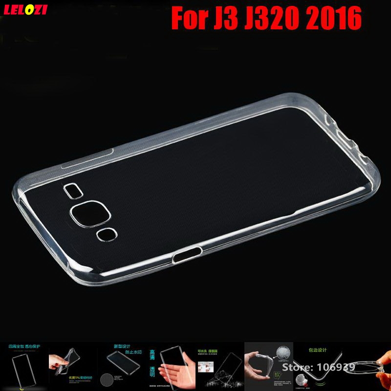 LELOZI Soft Transparent TPU Clear Silicone Gel Fundas Etui Case Cover For Samsung Galaxy J3 J320 2016 J320F J 3 320 Protective