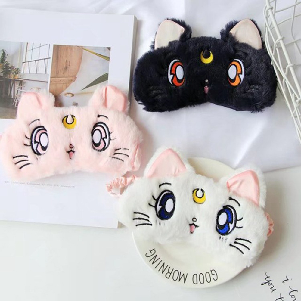 Sailor Moon Warrior Luna Cat Plush Eye Mask Anime Glossy Eye Shade Sleep Cartoon Shading Cat Eye Mask