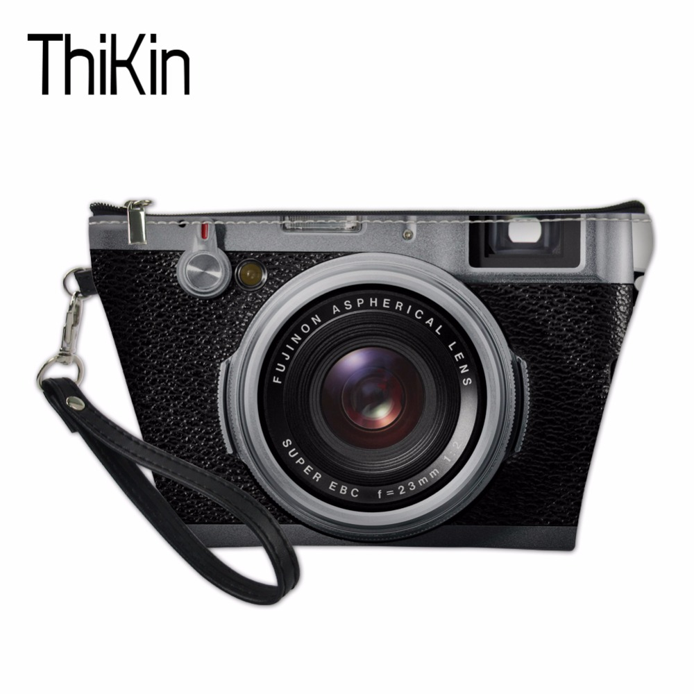 THIKIN Functional Make Up Bags for Women 3D Camera Print Makeup Box Pouch Women Beauty Cosmetic Bags Pochette Travel Organizers