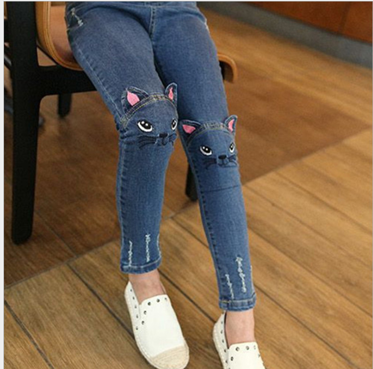 Baby Kids Girl 3d Cat Jeans Cute Children Casual Street Pencil Skinny Girls Pants Child Denim