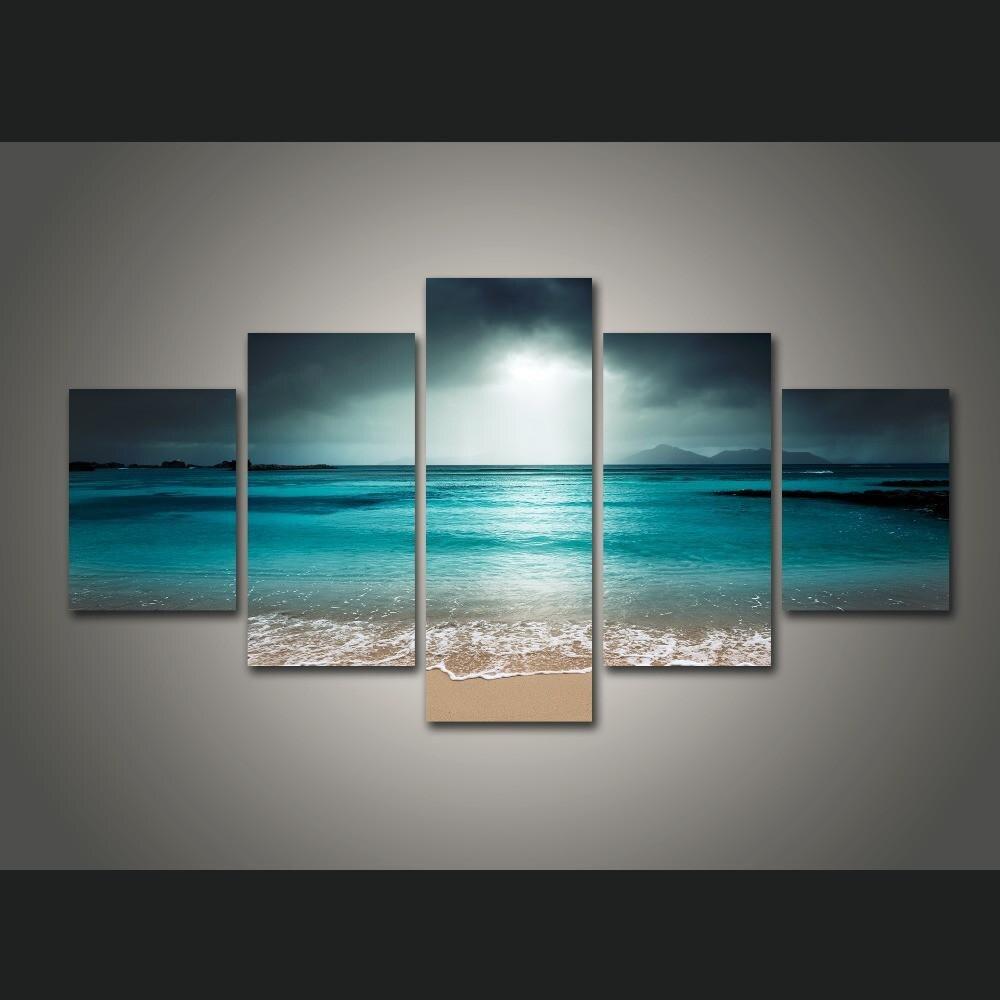 Moderne Wand Kunst 5 stück Leinwand Gerahmte Seascape Malerei Große Welle Landschaft Poster Druck Service Dropshipping
