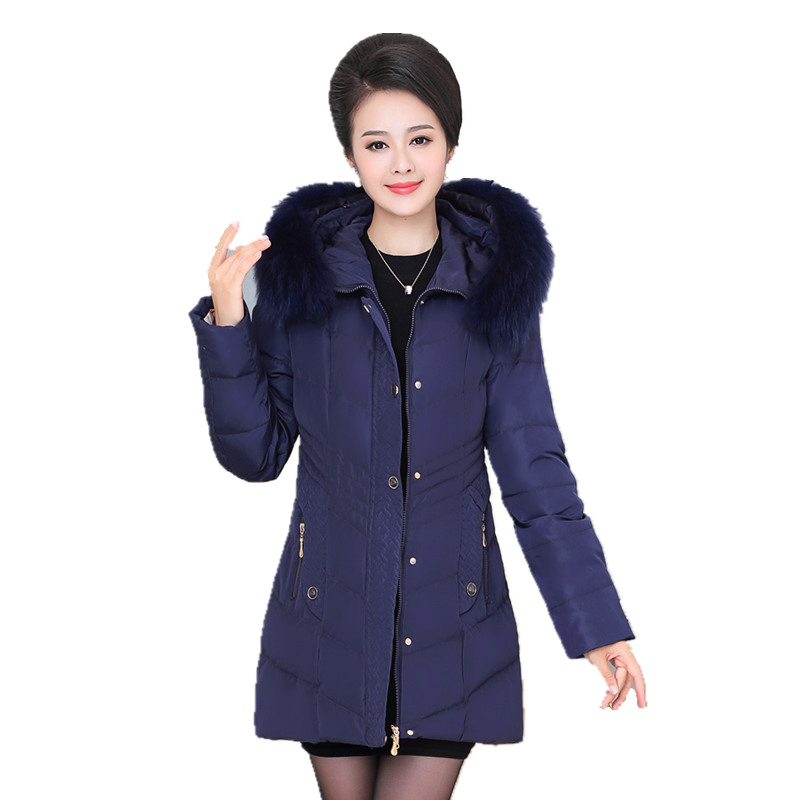 Women Winter Down Jacket 2017 Plus size Hooded Fur collar Warm Cotton-padded Coats High-end Solid color Medium long Ms Outerwear winter high end white duck down women jacket long real fox fur collar thickening hooded solid color warm outerwear coat mz1921