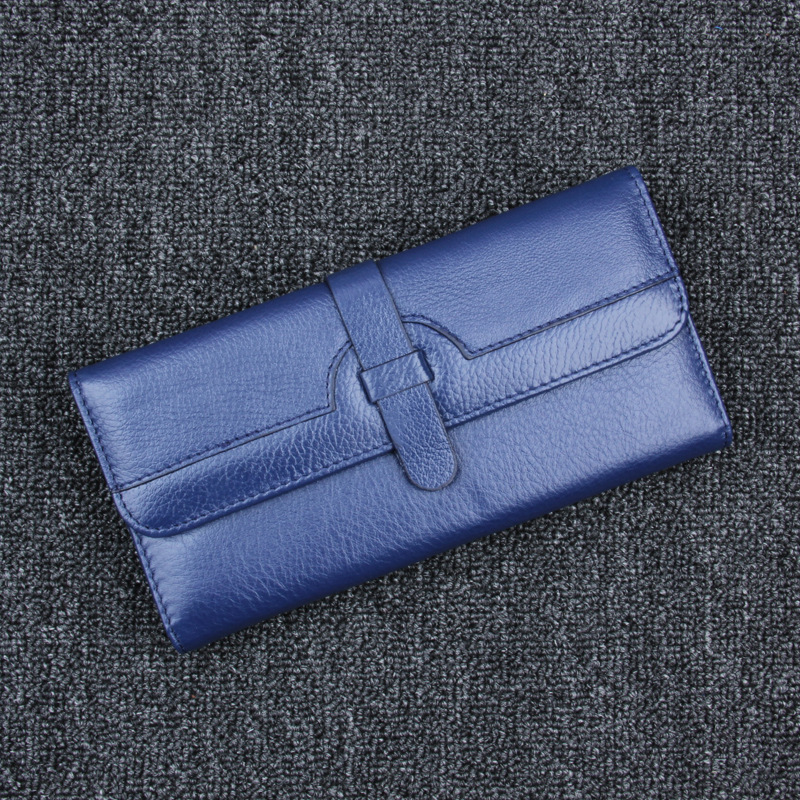 2018 Women Wallet Cowhide Genuine Leather Three tri fold Purse Bag long Design famous Fashion card holder zipper Coin pocket