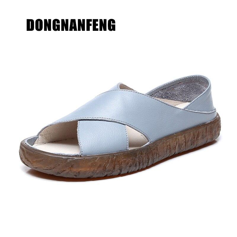 DONGNANFENG Для женщин мать Дамская обувь; для женщин сандалии Туфли без каблуков из натуральной коровьей кожи свиной летом прохладно пляж Разме...