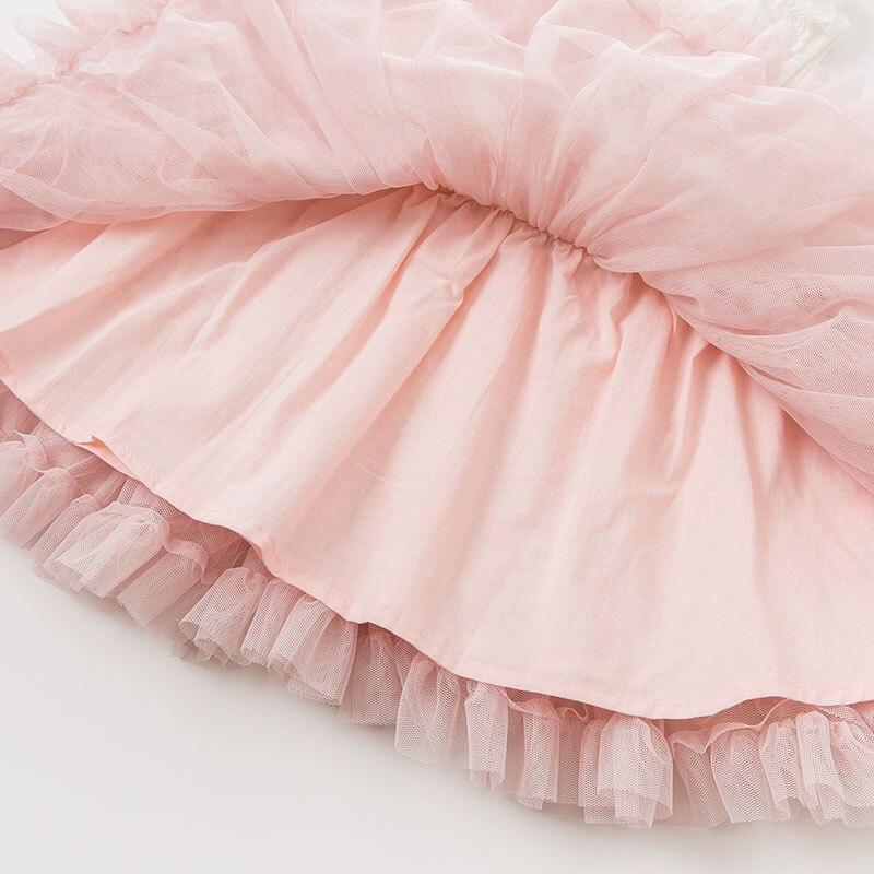 DBM9591 dave bella bébé fille robe à manches longues automne robes rose vêtements enfants fête d'anniversaire boutique robe - 6