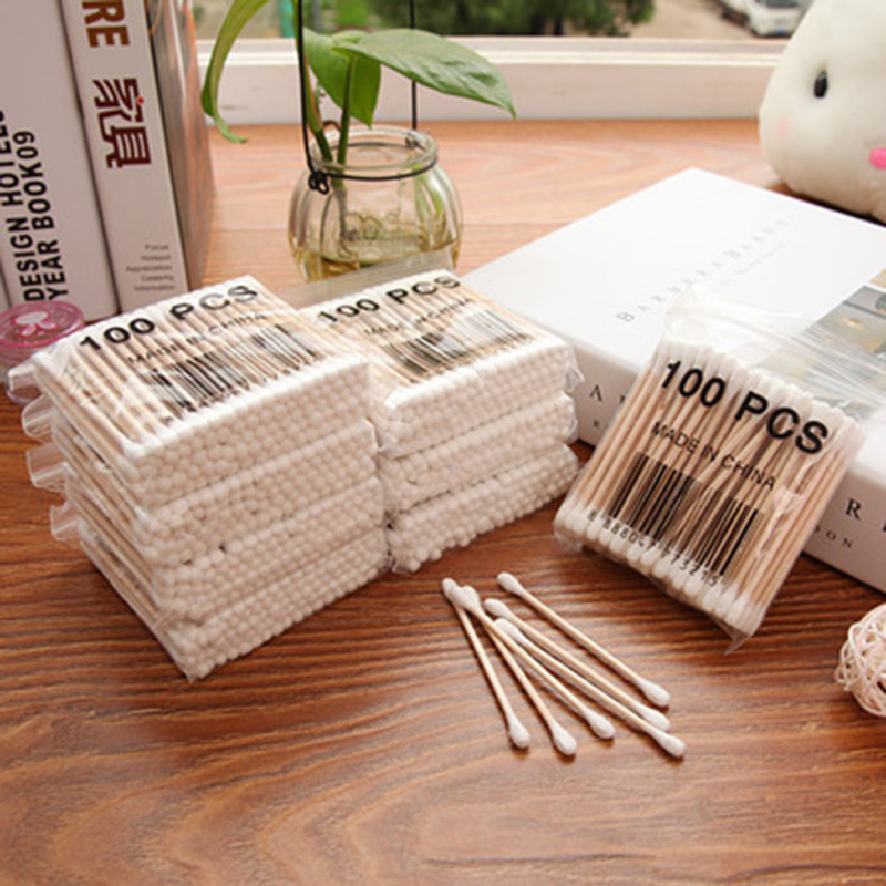100x Double-head Wooden Cotton Swab For Medical Cure Health Make-up Stick Nose Cleaning Cosmetics High Quality