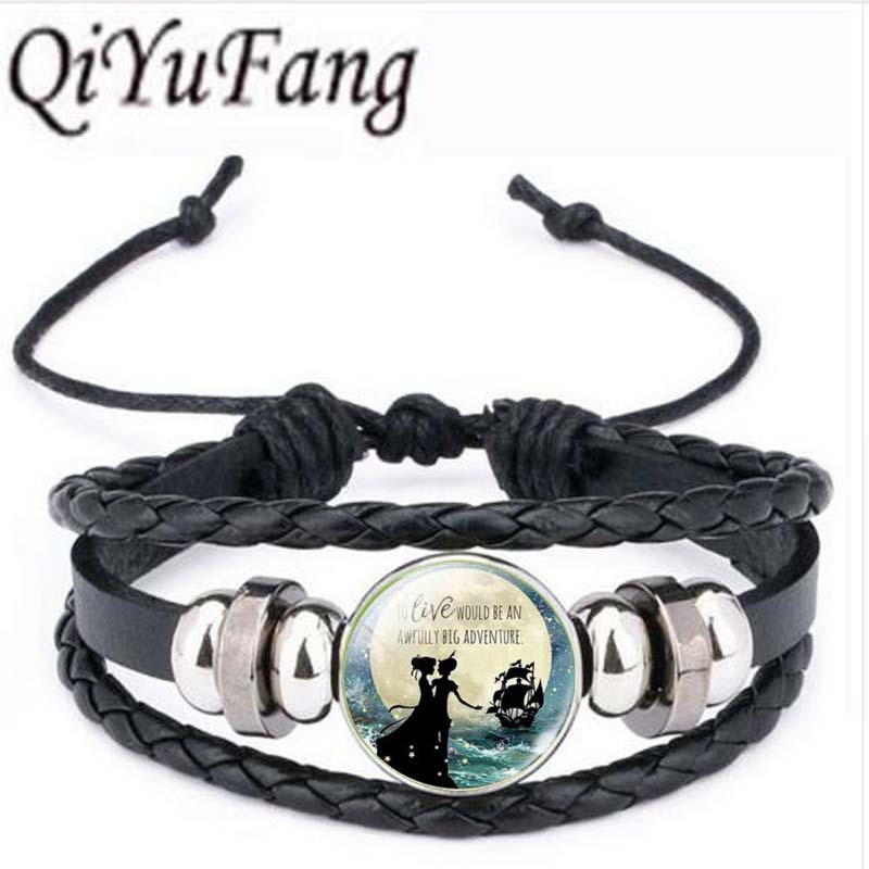 Qiyufang Silver Color Chain Jewelry <font><b>Peter</b></font> <font><b>Pan</b></font> <font><b>bracelet</b></font> bangle Neverland Statement <font><b>bracelet</b></font> bangle Choker <font><b>bracelet</b></font> bangle Women image