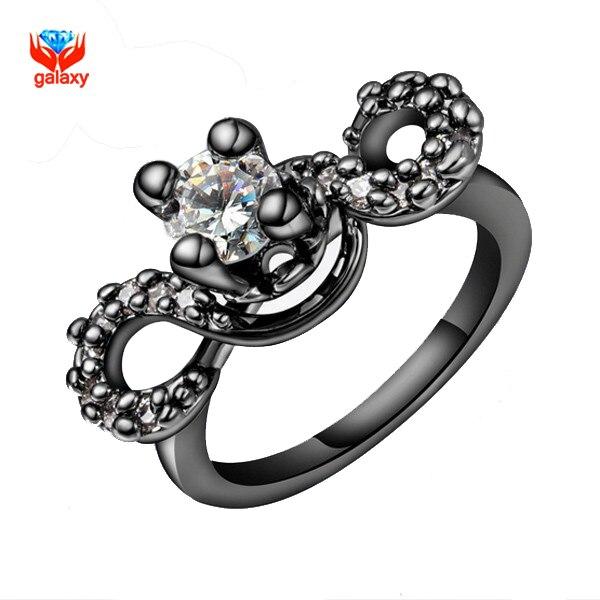 f734173a9391 Yhamni único negro oro lleno de Anillos para las mujeres corazones y  flechas 1 quilates simulado Diamant nuevo anillo de moda África yh085