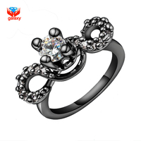 GALAXY Unique Black Gold Filled Fashion Rings For Women Hearts And Arrows 1 Carat Simulated Diamond
