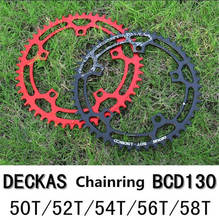 DECKAS Round Bicycle Chainwheel 130 BCD 50T/52T/54T/56T/58T Chainring for MTB Mountain Road Bike Chain Ring Big