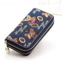 Japan And Korean Style Lovely Bear Print Double Zipper Interlayer Purse Trendy New Women Durable Canvas