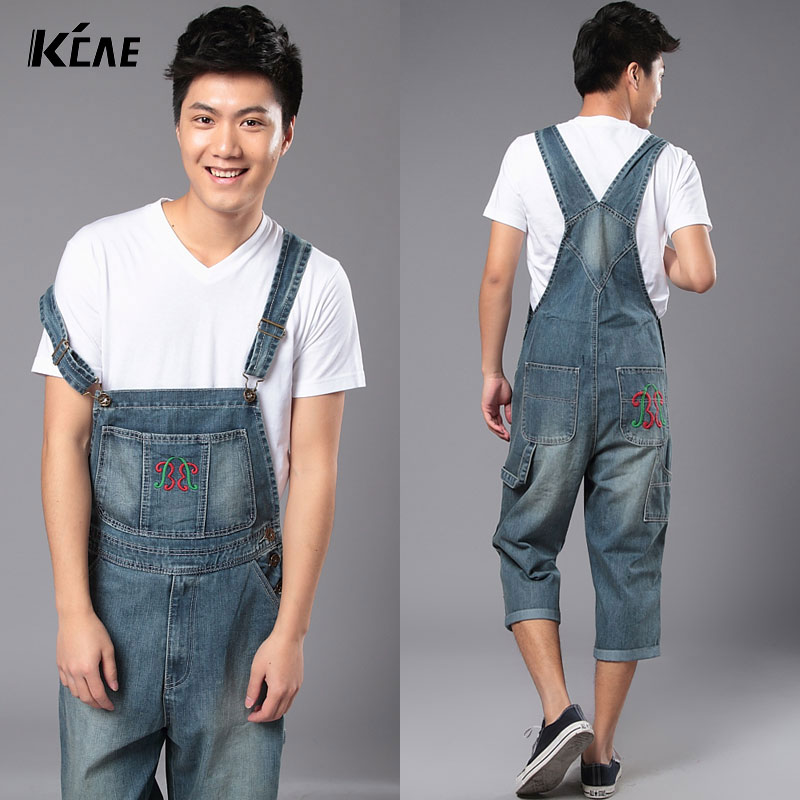 ФОТО 2016 New Brand Plus Size S-5XL Summer New Mens Overalls Denim Jeans Pants Calf-Length Cargo Pants Loose Casual Trousers