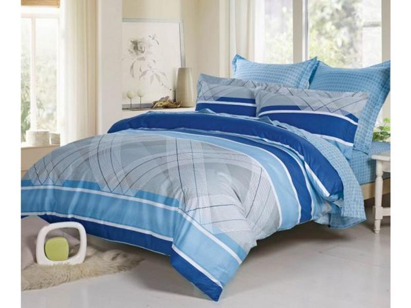 Bedding Set double-euro СайлиД, B, blue stripe sexy stripe pattern bikini set with knot in blue