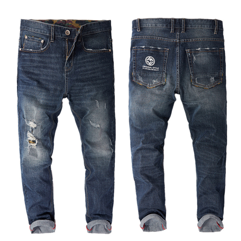 New Mens Stretch Straight Hole Large Size Denim Pants Ripped Bleached Jeans High Quality Cotton Jeans Men Patchwork Pants