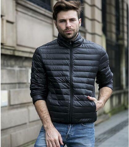 2017 Homens Outono/Inverno Pato Para Baixo Pato Jaqueta Ultra Light Moda Térmica de Viagem de Bolso Portátil Fino Casacos Outerwear