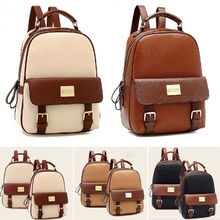Women PU Leather Backpack School Bag Teenager for Girls Student Book Bags Travel Bag Solid Color Female Preppy Style Backpack
