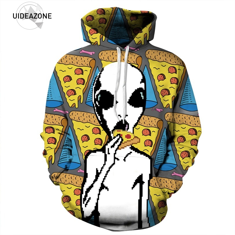 UIDEAZONE Excellence Store Funny Alien Hoodie Full Print Aliens Eating Pizza Tracksuit Men Women Long Sleeve Casual Tops Sudadera Loose Fitness Pullovers