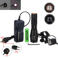 940nm IR Hunting Light Zoom Tactical Lamp Infrared Night Vision Flashlight +18650 Battery+ Mount+Remote Pressure Switch
