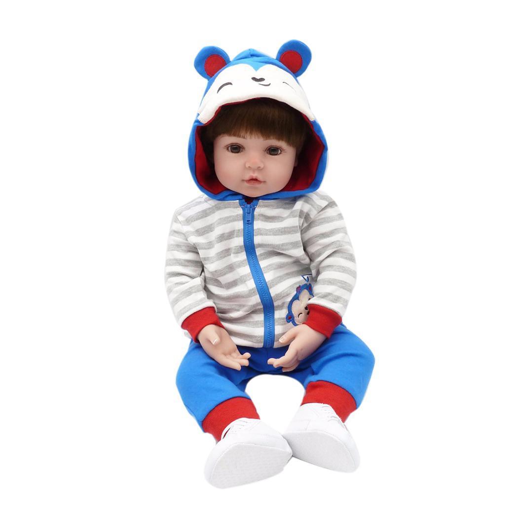 2018 Newest design Big Size Handmade Reborn Babies Silicone Vinyl Adora lifelike boy doll blue stripes bebe Reborn NPK DOLL