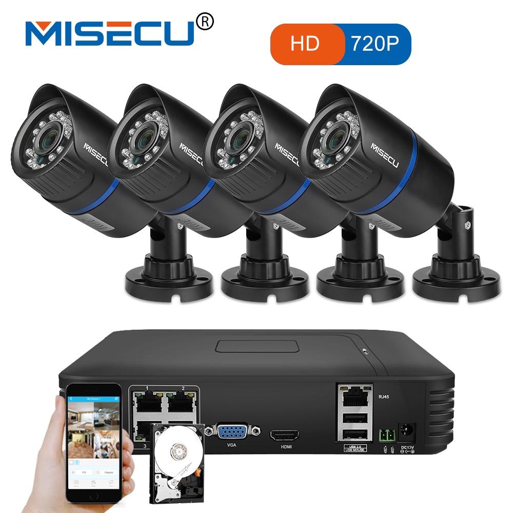 MISECU 4CH POE 1080 P NVR 4 шт. 1.0mp 15 В PoE IP Камера P2P HDMI 1080 P CCTV Системы наблюдение ИК ночного видения out/Крытый ПК и телефон