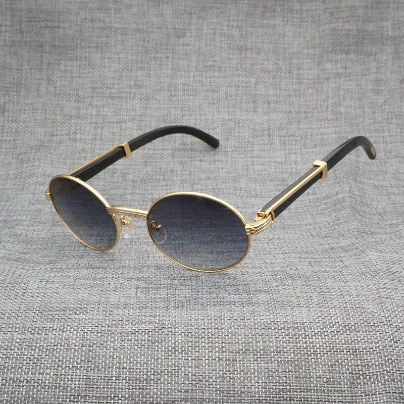 911ec2942 Natural Chifre de Búfalo Rodada Óculos de Armação de aço Inoxidável para a  Condução de Óculos De Sol Dos Homens De Madeira Clara Clube Acessórios  Oculos ...