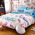 100% Cotton Rainbow letter Bedding Set Modern Love kiss me pattern Full Queen Abstract Circle Bed Duvet Cover Sheet Summer 4pcs