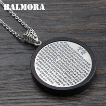 BALMORA 100% Real 990 Pure Silver Sandalwood Heart Sutra Pendants for Women Mother Men Gifts Jewelry Without a Chain SY13763