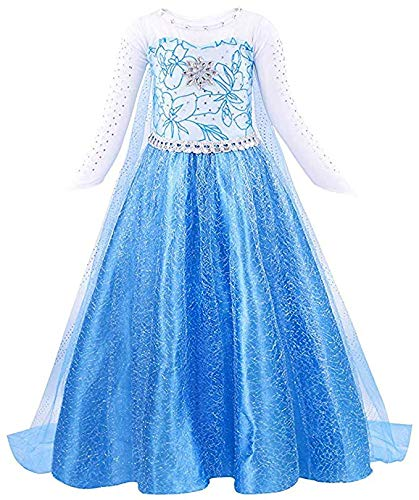 Elsa Frozen Costume Kids Princess Dress for Girls Snow Queen Fancy Halloween Cosplay Party