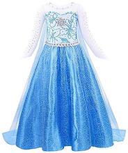 цена на Elsa Frozen Costume Kids Princess Elsa Dress for Girls Snow Queen Princess Fancy Dress Halloween Costume Cosplay Dress Party