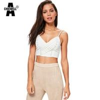Achiewell Summer Sexy Women Camiso V Neck Chest Cross Bandage Zipper Back Spaghetti Straps Pure Color