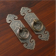 Rustic retro brass furniture door handle yellow brass drop rings with backboard dresser kitchen cabinet door handle drawer pull