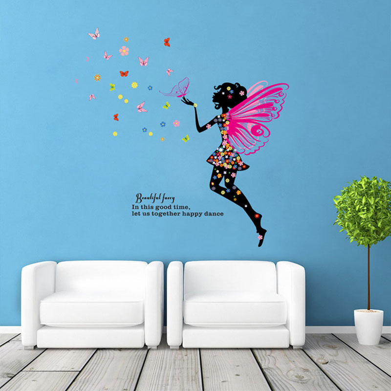 Fashion Butterfly Flower Fairy Wall Sticker for Kids Room Girls Decals DIY Poster Bedroom Decal PVC Home Decor @LS