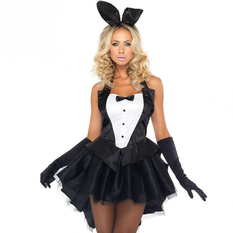 Bunny Girl Rabbit Costumes <font><b>Sexy</b></font> Cosplay <font><b>Halloween</b></font> Adult Animal Costume For Women Fancy Dress Clubwear Party Wear bunny costume image