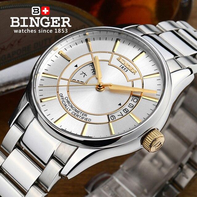 Switzerland watches men luxury brand Wristwatches BINGER luminous Automatic self-wind full stainless steel Waterproof  B5007-7