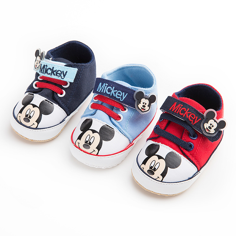Disney Four Seasons 0-1 Baby Shoes Soft Cartoon Mickey Hook Loop Baby Casual Shoes