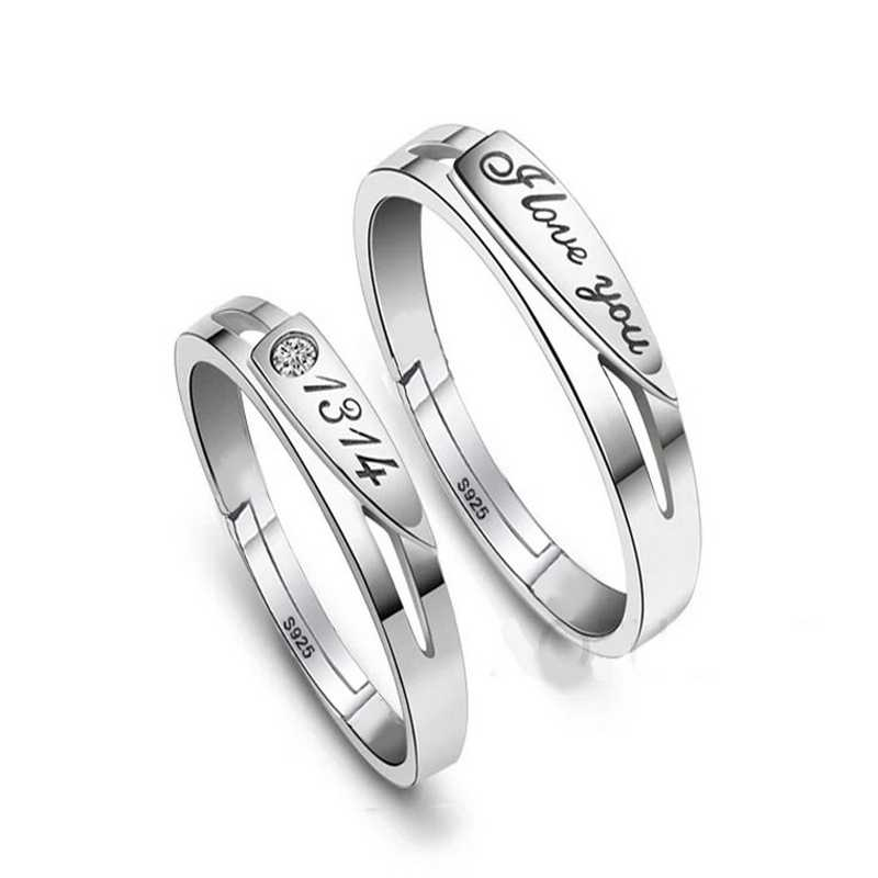 Top Quality 2017 New 925 Pure Silver Romantic I Love You 1314 Forever Lovers Wedding Rings Jewelry For Woman & Man GQL003
