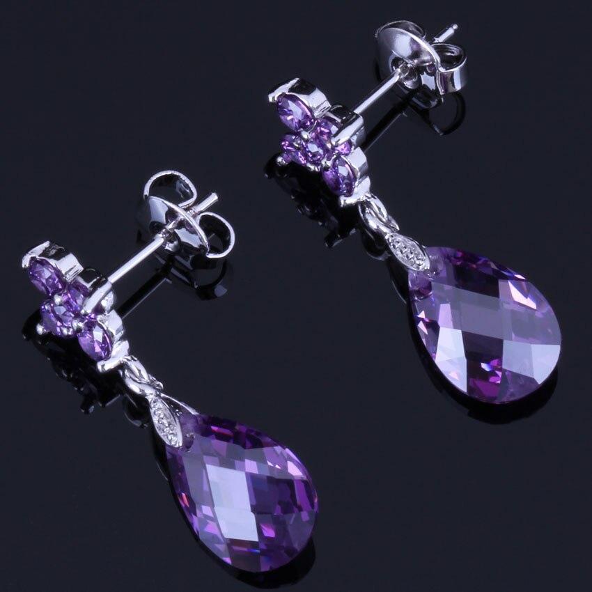 Exquisite Water Drop Purple Cubic Zirconia 925 Sterling Silver Dangle Earrings For Women V1034