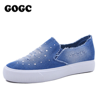 GOGC 2016 Designer Denim Shoes With Crystal Comfortable Thick Bottom Canvas Shoes Women Causal Shoes For