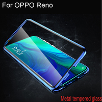 Luxury Magnetic Adsorption Case For OPPO Reno Metal Frame Clear Tempered Glass Cover For OPPO Reno Magnetic Flip Cases OPPORENO