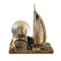 World Famous Building Asia Dubai Arab Tower Model Crystal Ball Decor Figurines Creative Resin Crafts Office Desktop Decorations